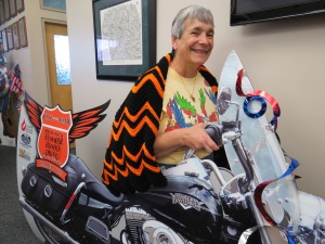 Fran Duell revs up the Road King cut-out with her Harley-Davidson afghan.