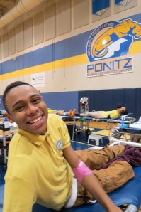 "Senior Sheldon Hardy decided Tuesday was the day to become a first-time donor. ""I don't know,"" he said. ""I never did it before. After four years it was time.  Everything was great!"""