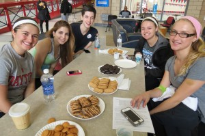 Marycrest volunteers & donors (L-R) sophomore MacKenzie Shivers, junior Anais Nin, sophomore Patrick Doyle, senior Brittany Bishop & freshman Julia Clafford.