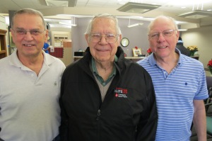 Ron Kress (center) made his milestone 100th lifetime donation with friends Tony Citrigno & Phil Herman. Tony has 144 donations & Phil has 83.