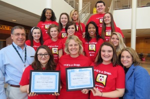 Butler Tech wins CBC High School Leadership Grants; CBC Donor Relations Manger Tracy Morgan & account representative Bill Roy present awards to Butler Tech blood drive coordinator Laura Eby & senior blood drive committee volunteers.