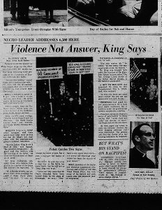 The Dayton Daily News reports on the protests during Dr. Martin Luther King's visit to Dayton in 1964.