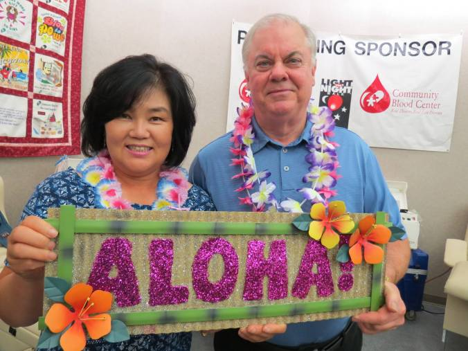 "Dayton/Huber Heights donor Randall Felts & wife Eunhee, winners of the CBC ""Get on Board – Give Blood Summer Blood Drive"" grand prize Hawaii vacation."