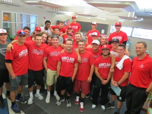 Sinclair Community College Tartan baseball team makes traditional fall visit to Community Blood Center to donate.