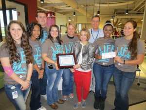 "Butler Tech receives $1,000 CBC High School Leadership Grant for ""Most Donors"" in 2014-2015. (L-R) students Amanda Englebert, Lauren Nelson, Jesse Dearth, Brittany Grubb, faculty coordinator Laura Eby, CBC Donor Relations Manager Tracy Morgan, CBC account representative Bill Roy, students Ekklesia Jenkins & Natily Meacham."