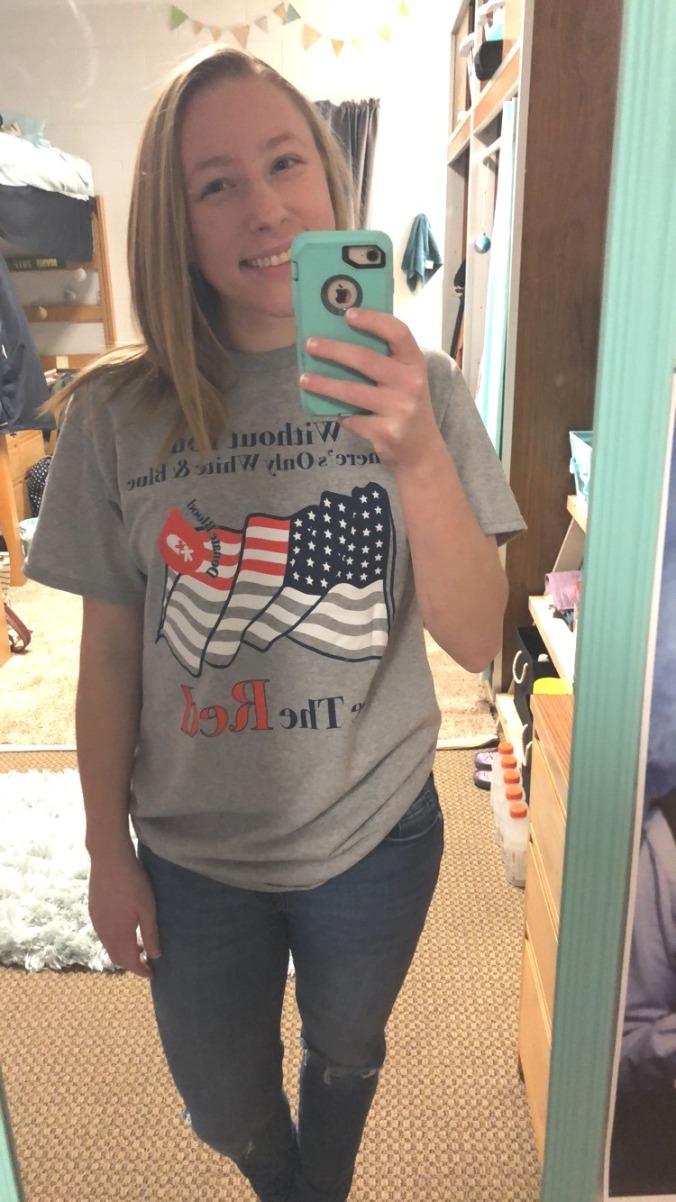 Aliya Stine - BTR t-shirt selfie